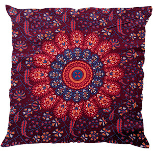 Maroon Mandala Screen Print Cotton 16″ × 16″ Pillow