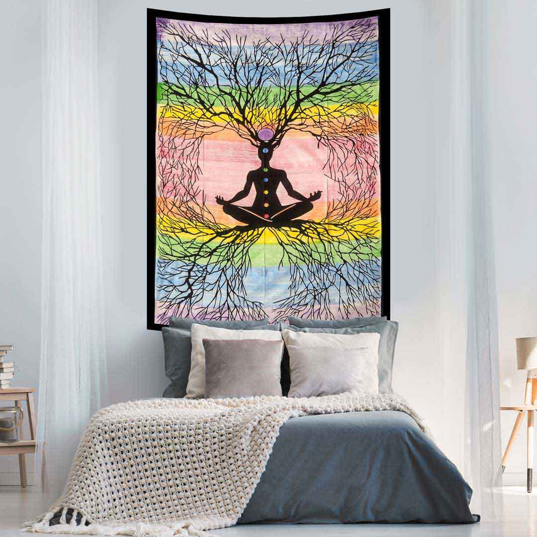 Handbrush Multicolor Yoga Man Roots Screen Printed Queen Twin Tapestry