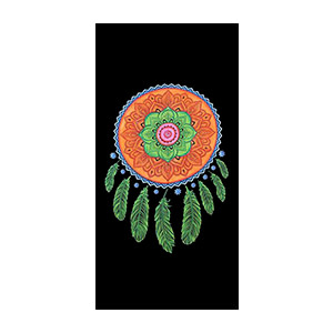 Orange Green Dream Catcher Handbrush Cotton 9 mm Yoga Mat