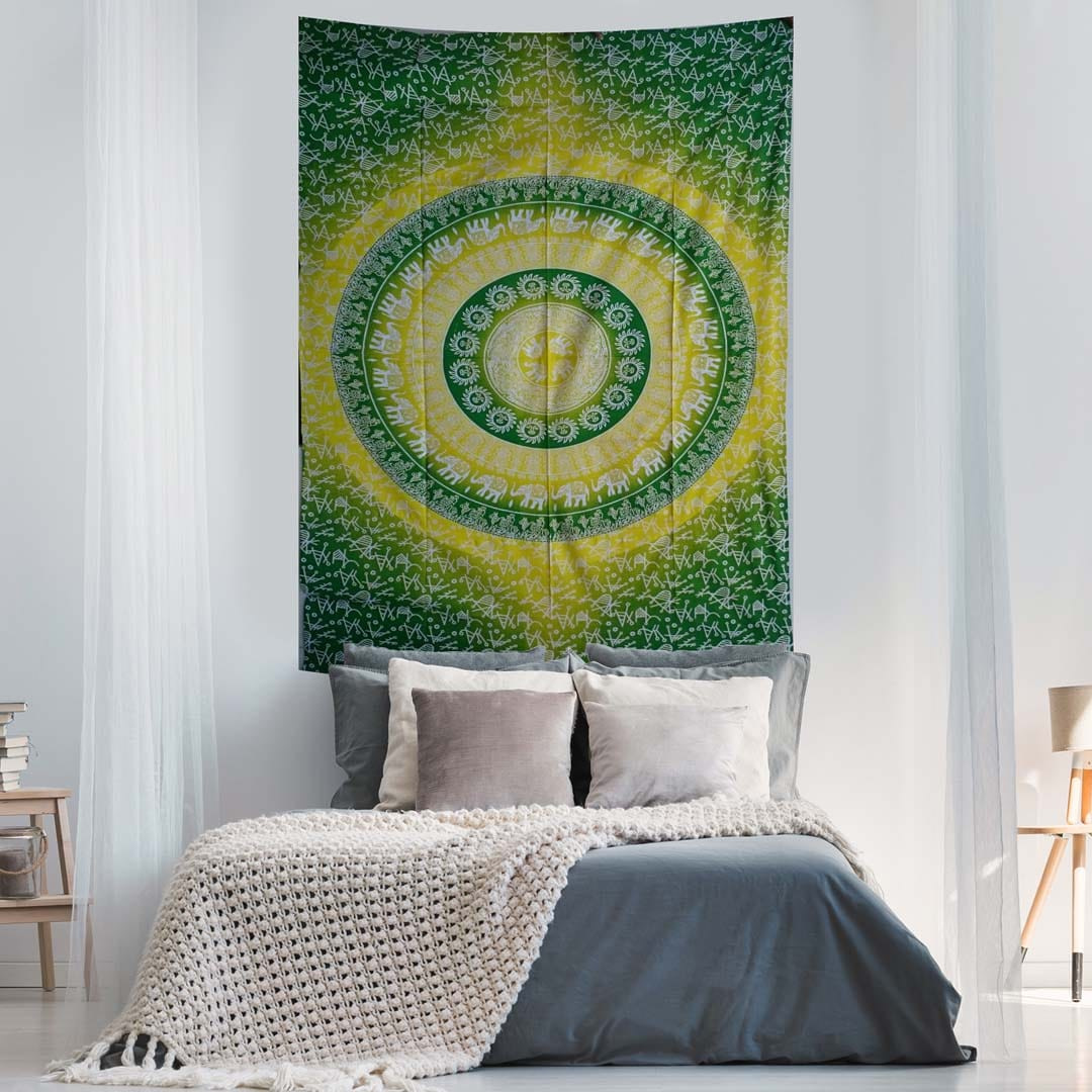 Elephant Mandala Ombre Yellow Green Screen Printed Queen Twin Tapestry