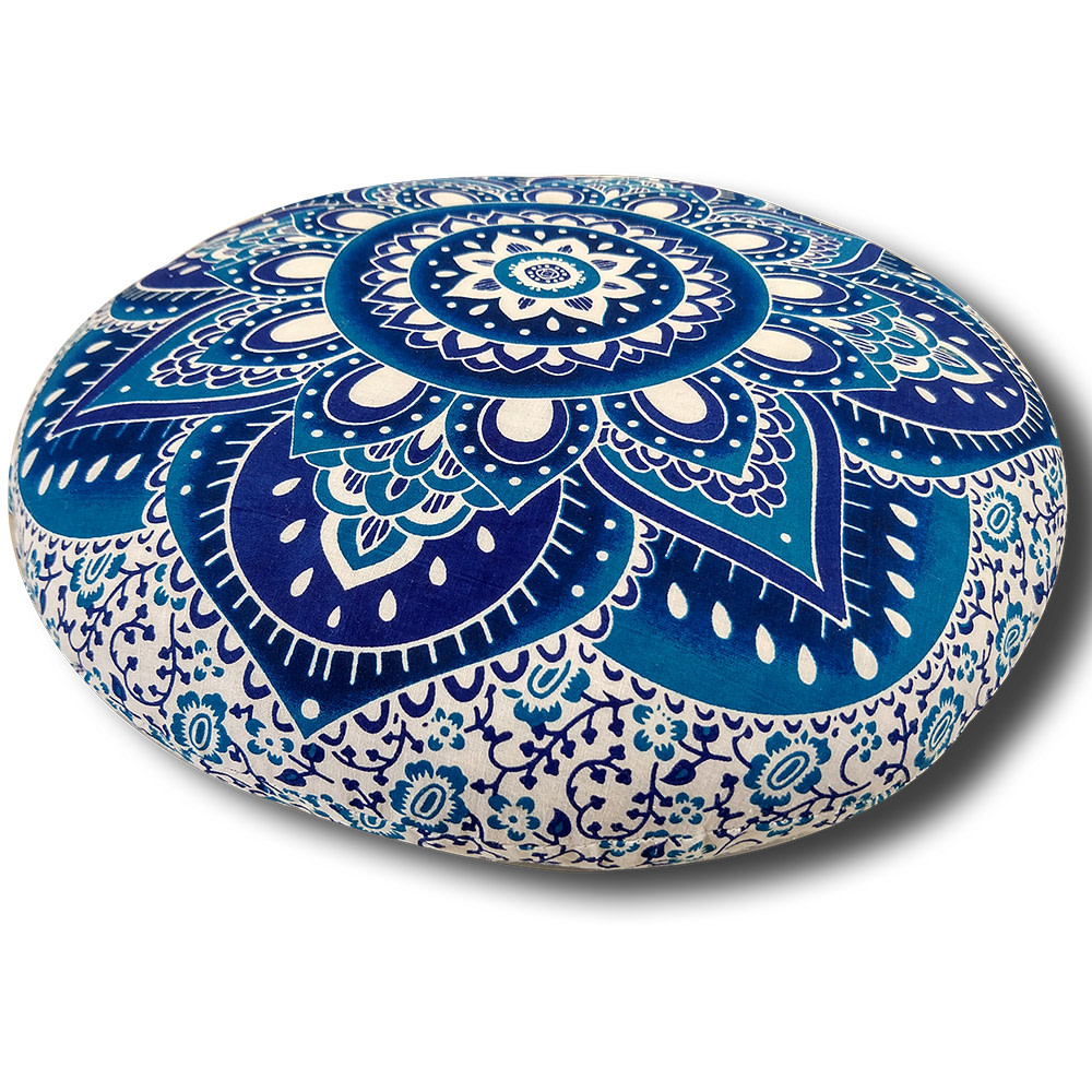 Blue Screen Print Cotton Meditation Cushion