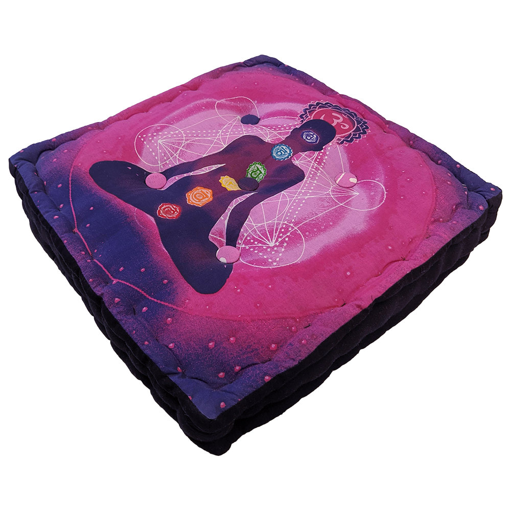 Purple Pink Screenprint Cotton meditation Cushion