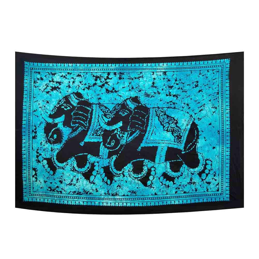 Turquoise Twin Elephant Tie Dye Small Cotton Screen Printed Wall Hanging Tapestry