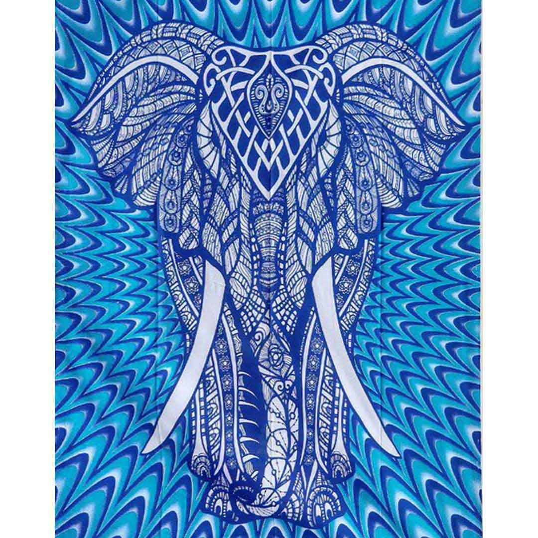 Blue Elephant Queen Twin Screen Printed Tapestry