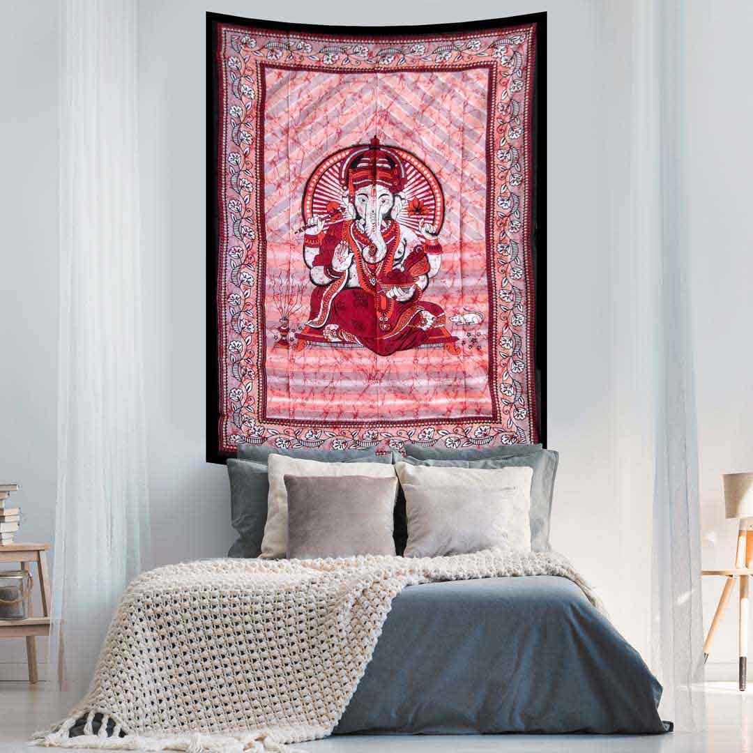 Ganesha Red Batik Screen Printed Tapestry