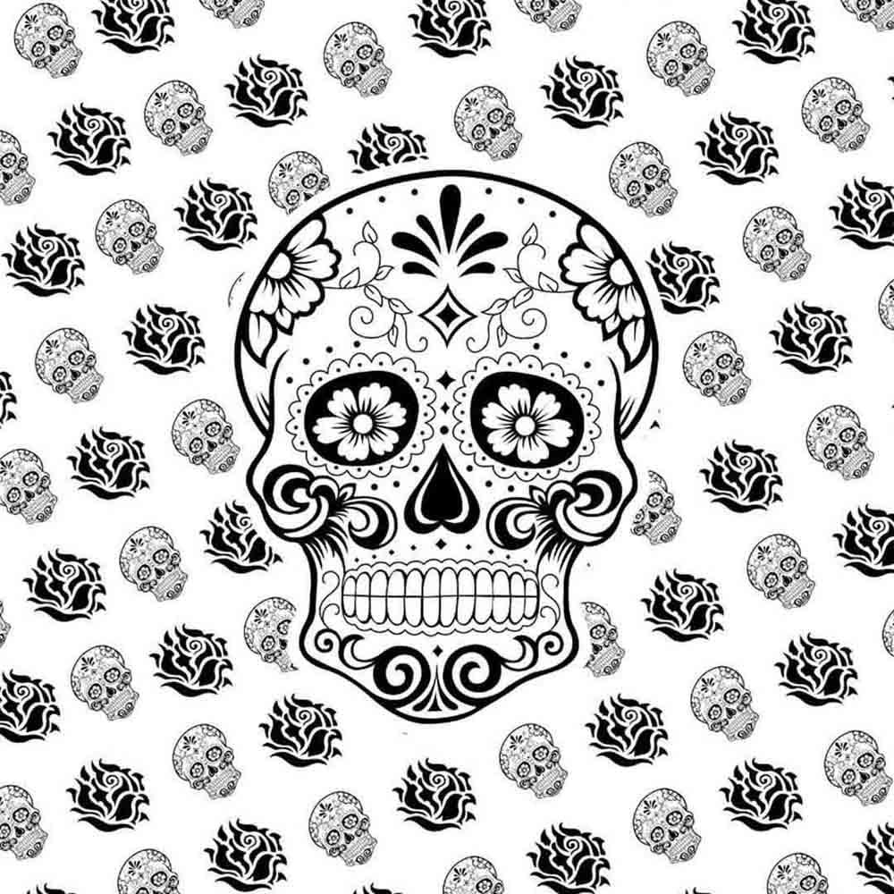Black and White Skull Queen Twin Screen Printed Tapestry