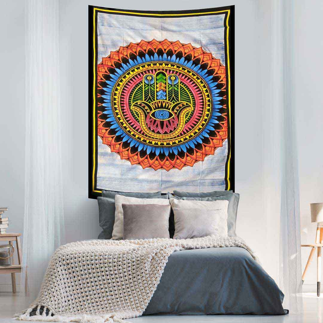 Hamsa Hand Hand Brush Multicolor Screen Printed Queen Twin Tapestry