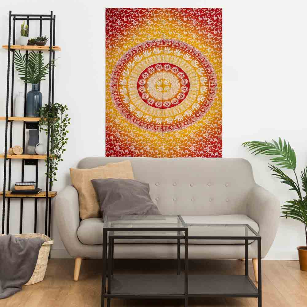 Yellow Red Mandala Elephant Gumbad Small Cotton Screen Printed Wall Hanging Tapestry