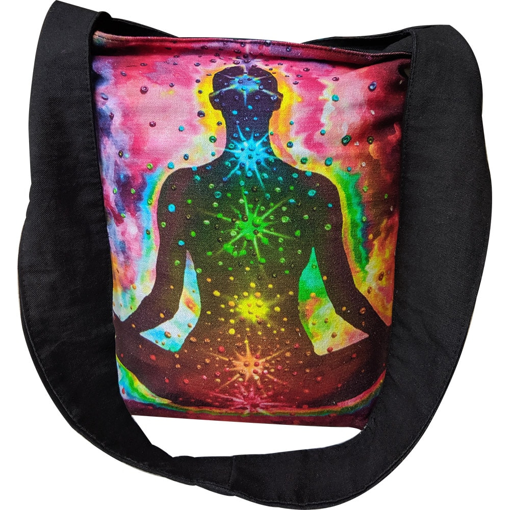 Multi Color Yoga Man Chakra Cotton Tote Bag Digital Printed