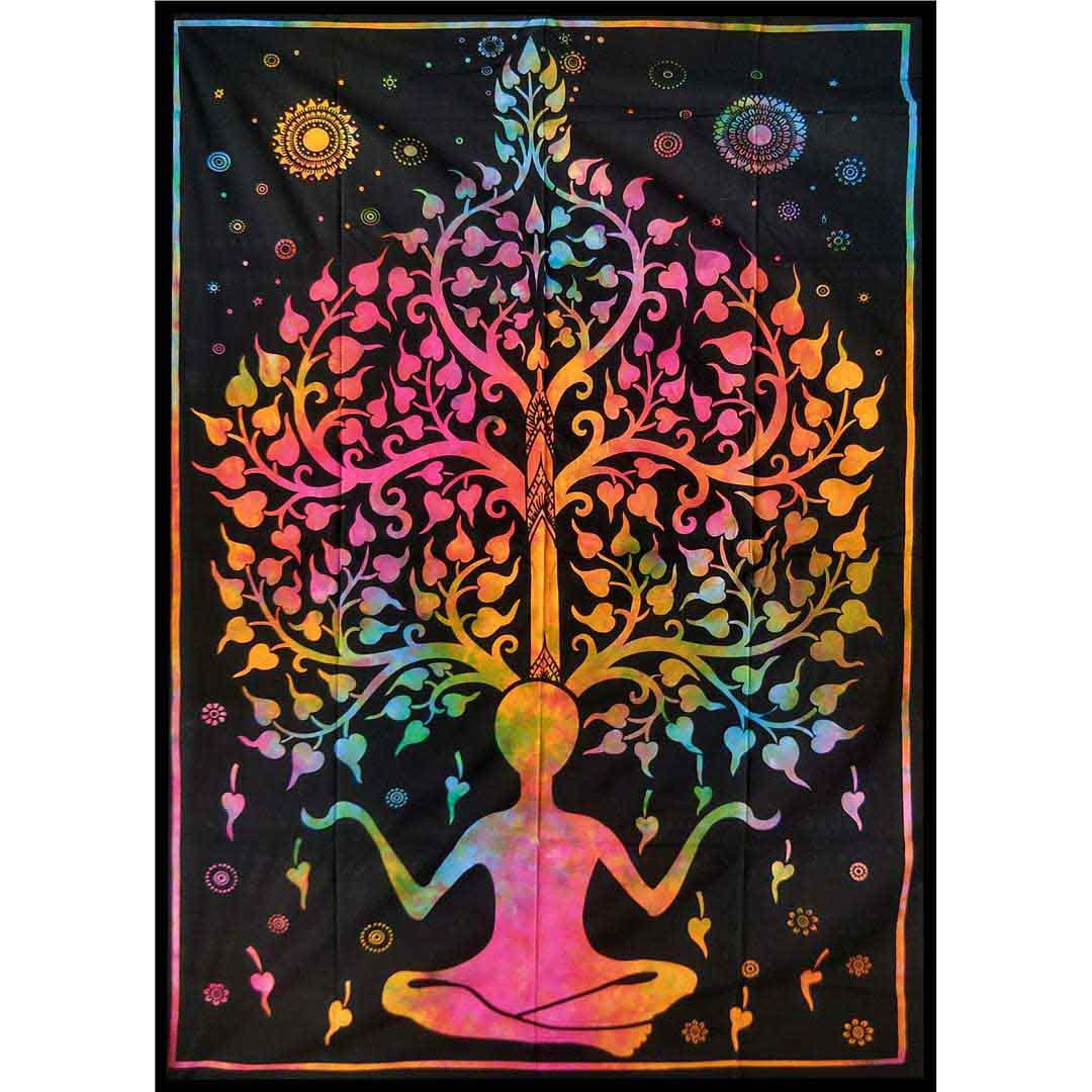 Tye Dye Yoga Man Tree Queen Twin Screen Printed Tapestry