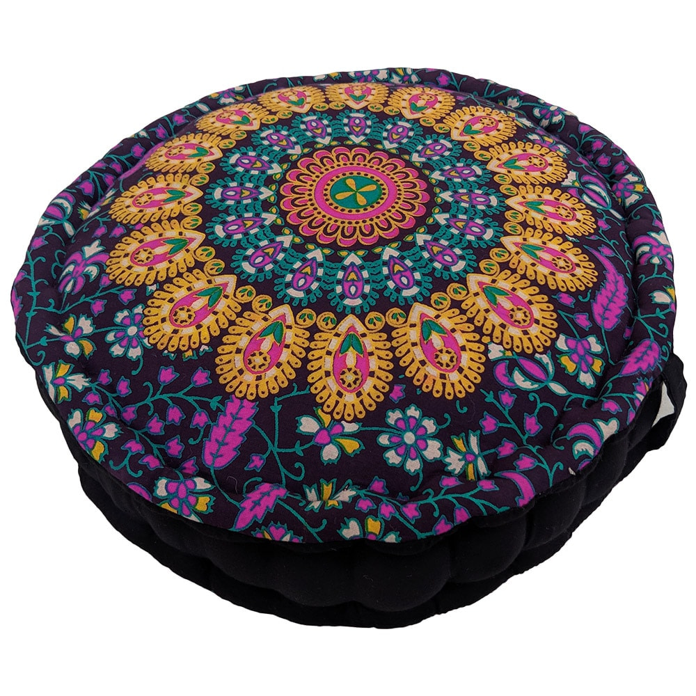 Purple Gold Screen Print Cotton Meditation Cushion