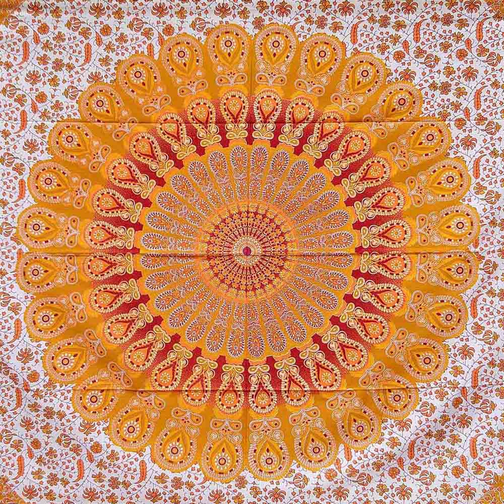 Orange Red Peacock Feather Mandala Screen Printed Queen Twin Tapestry