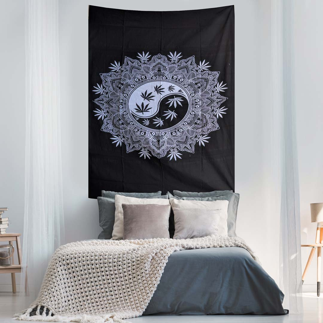 Yin Yang Marijuana Black and White Screen Printed Queen Twin Tapestry