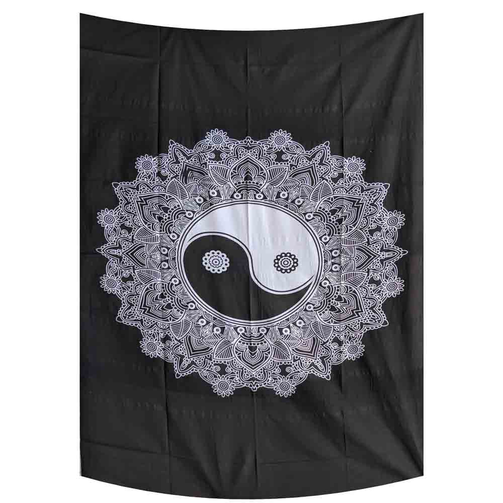 Black and White Yin Yang Small Cotton Screen Printed Wall Hanging Tapestry