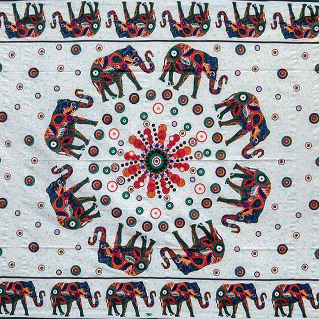 White Green Elephant Screen Printed Queen Twin Tapestry