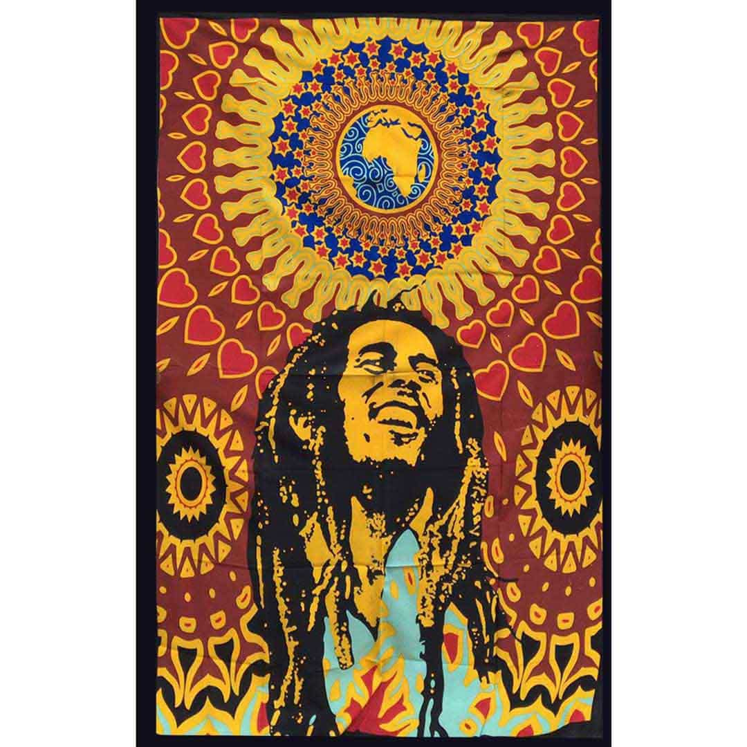 Bob Marley Globe Screen Printed Queen Twin Tapestry