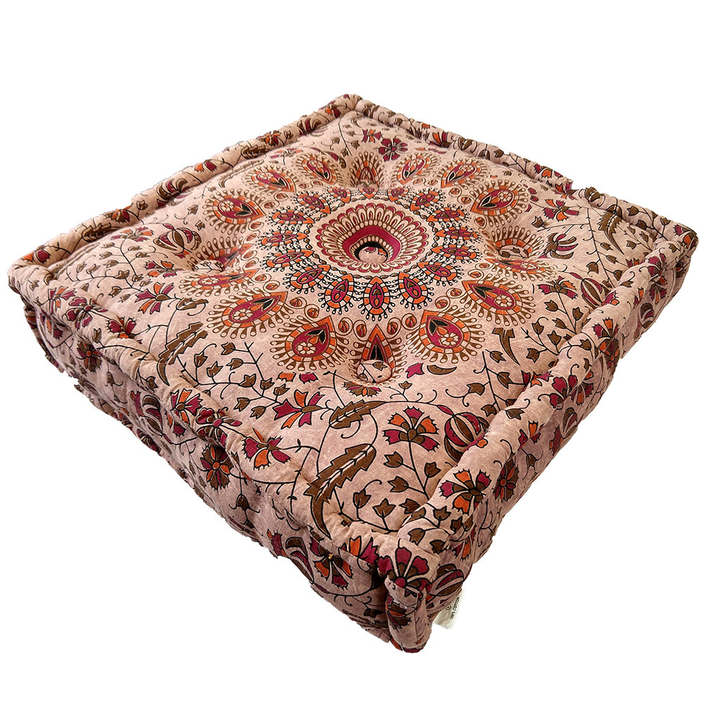 Stone Wash Brown Screen Print Cotton Meditation Cushion