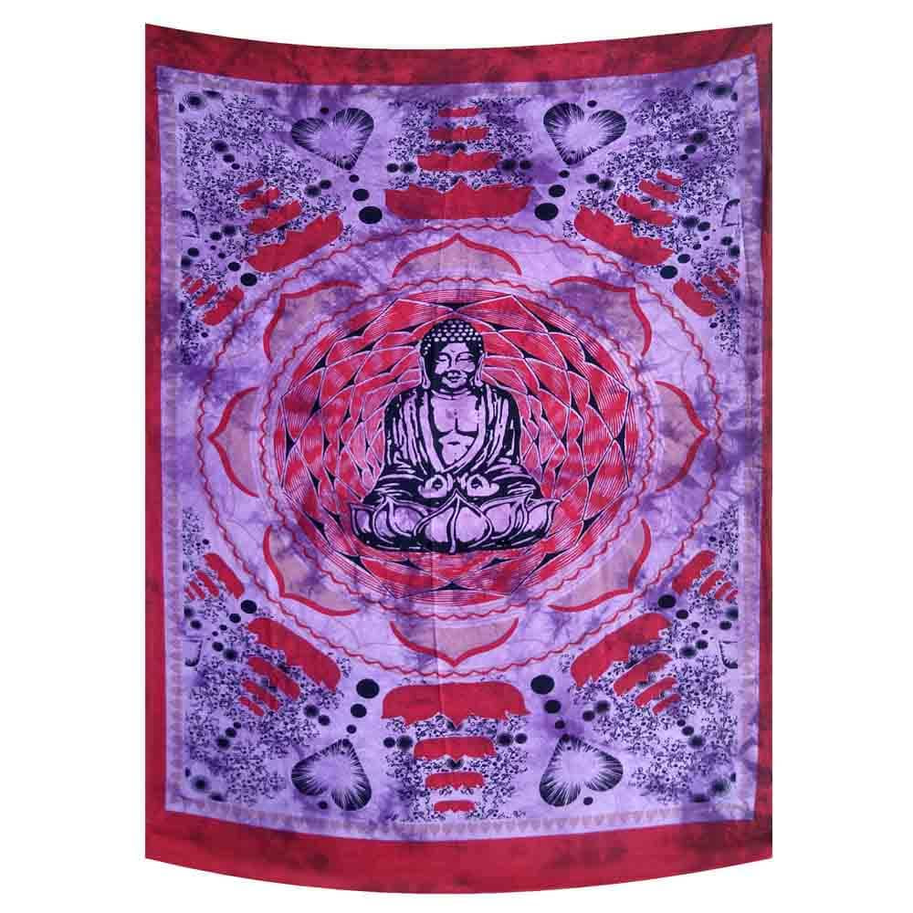 Purple Red Tie Dye Buddha Lotus Small Cotton Screen Printed Wall Hanging Tapestry