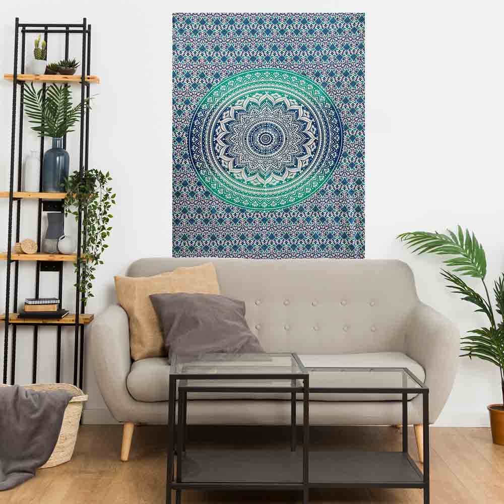 Green Ombre Mandala Gumbad Small Cotton Screen Printed Wall Hanging Tapestry