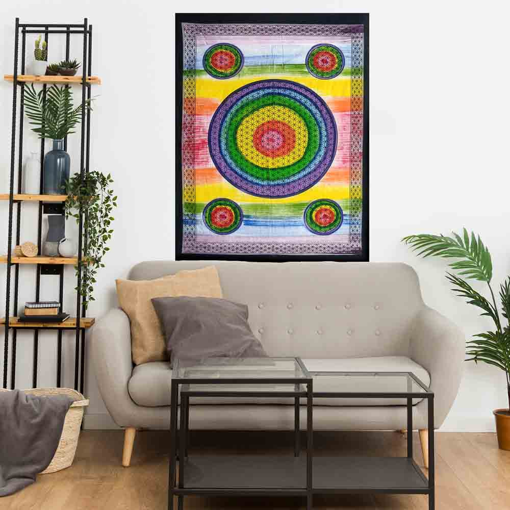 Multi Color Flower of Life Hand Brush Small Cotton Screen Printed Wall Hanging Tapestry