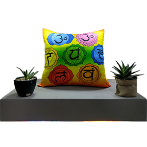 Multicolour Chakra Letters Digital Cotton 16″ × 16″ Meditation Pillow