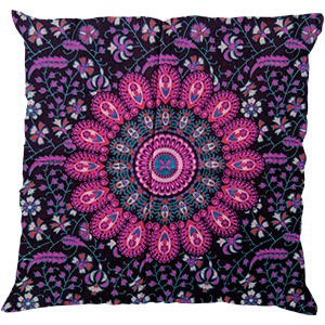 Purple Screen Print Cotton 16″ × 16″ Pillow