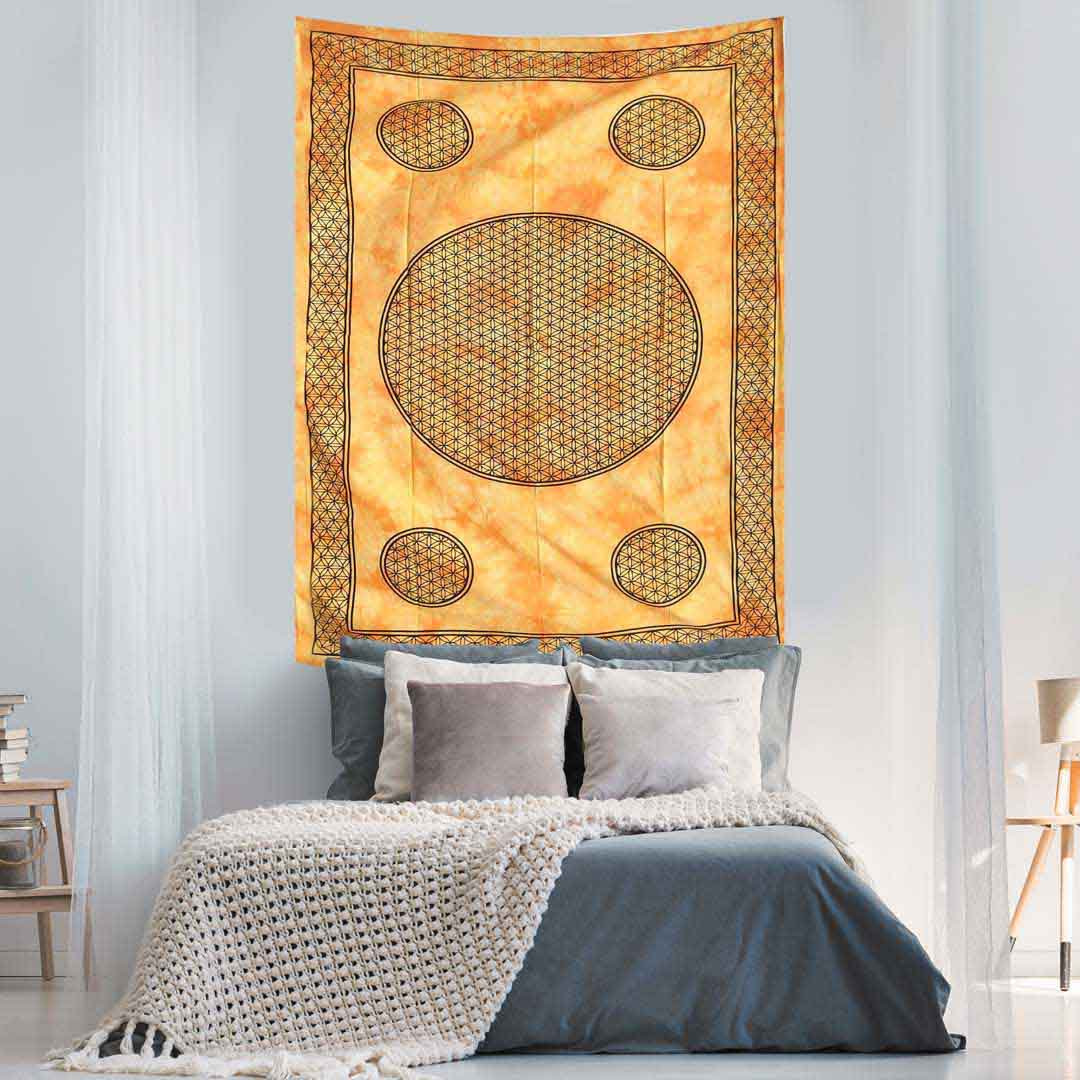 Yello Dye Flower of Life Screen Printed Queen Twin Tapestry
