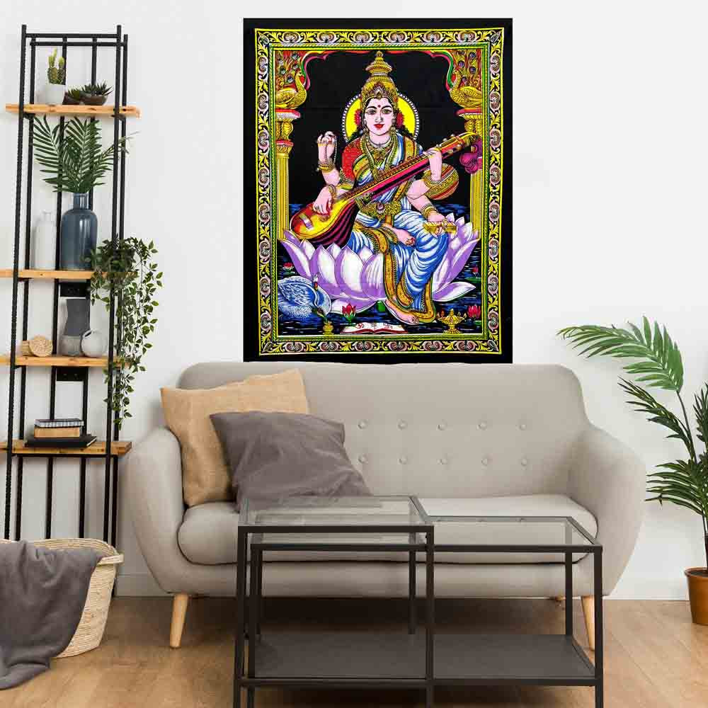 Goddess Saraswati Lotus Small Cotton Screen Printed Wall Hanging Tapestry