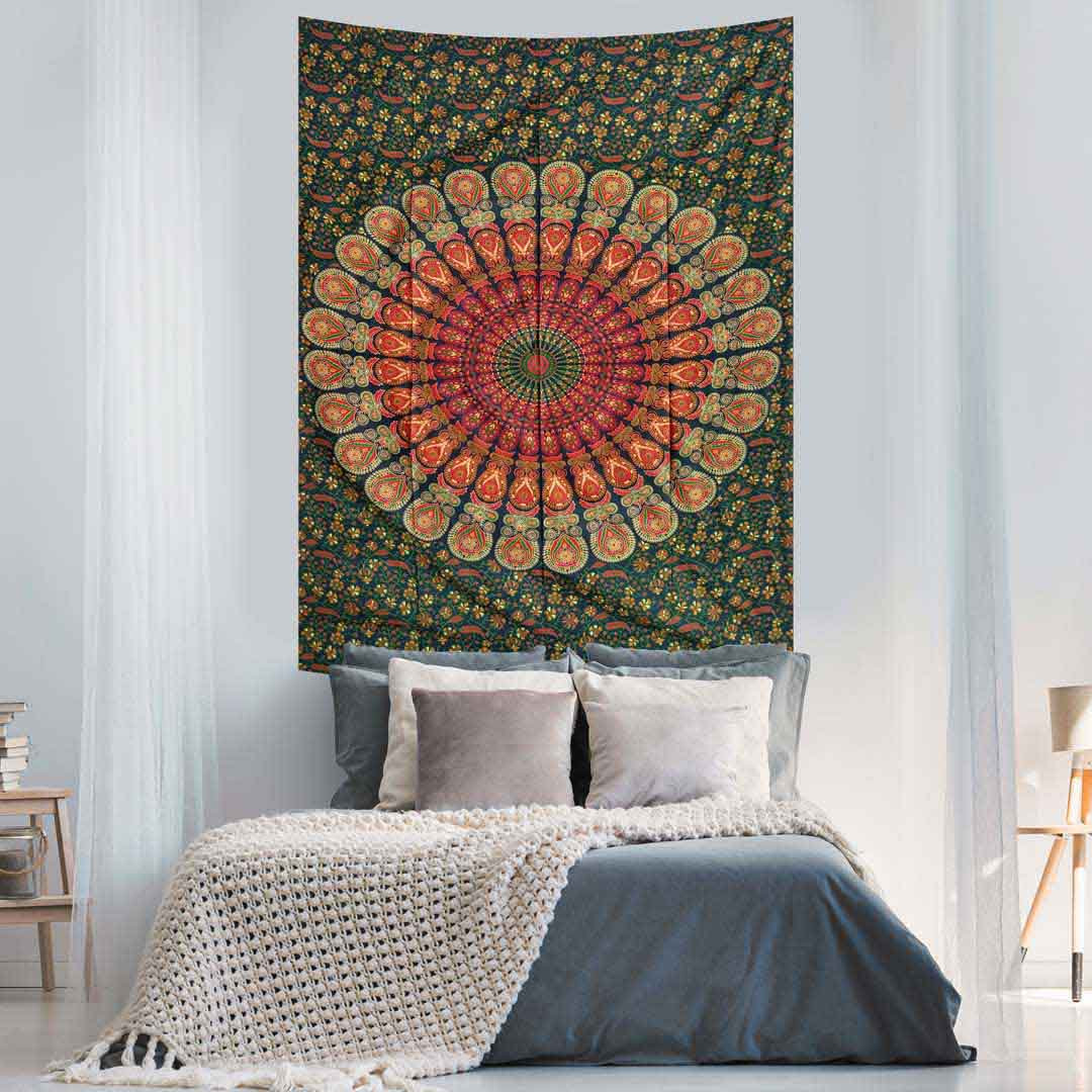 Red Green Peacock Feather Mandala Screen Printed Queen Twin Tapestry