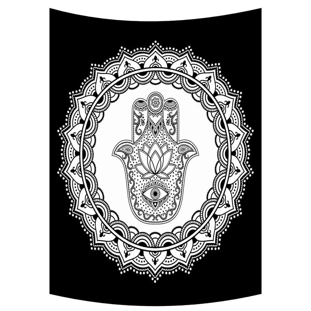 Black and White Hamsa Hand Small Cotton Screen Printed Wall Hanging Tapestry