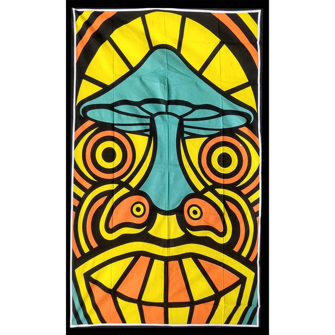 Yellow Orange Mushroom Nose Queen Twin Screen Printed Tapestry