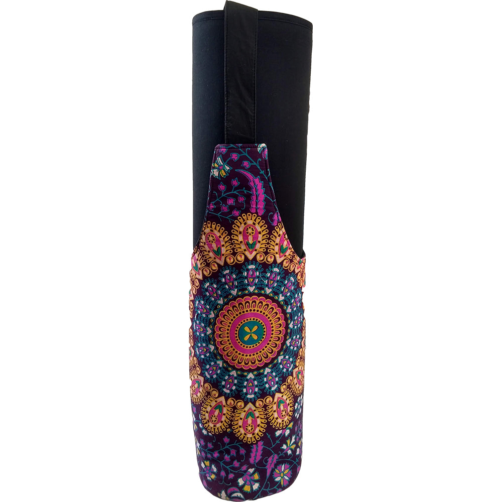 Purple Yellow  Mandala Long Tote Yoga Mat Bag Cotton Screen Printed