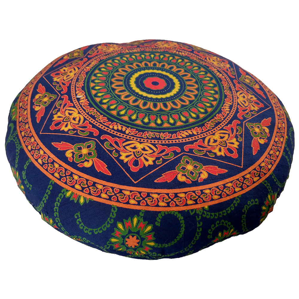 Blue Orange Mandala Screen Print Cotton Meditation Cushions