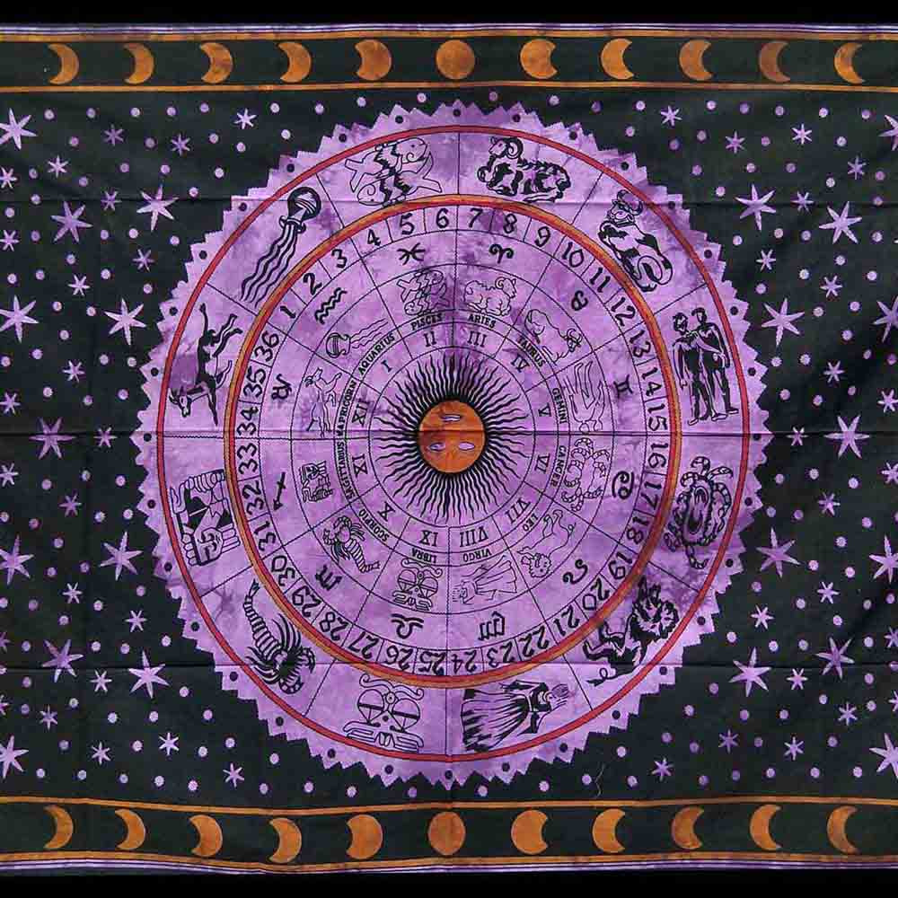 Purple Tye Dye Zodiac Moon Queen Twin Screen Printed Tapestry
