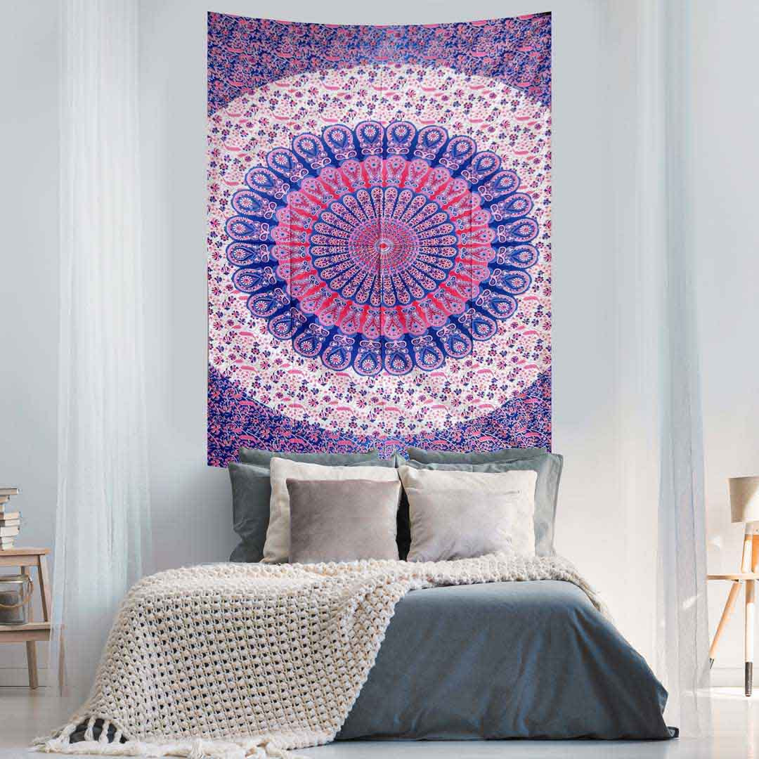 Pink Blue Peacock Feather Mandala Screen Printed Queen Twin Tapestry