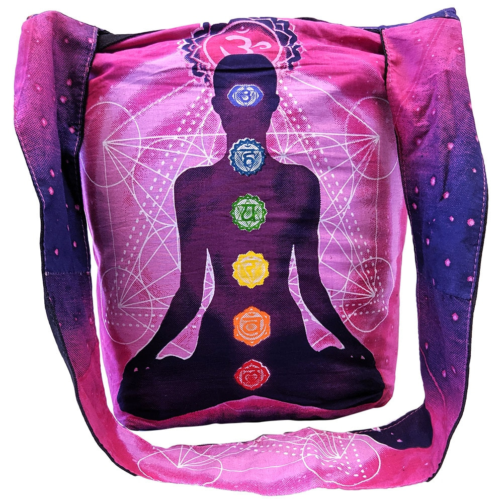 Purple Pink Yoga Man Chakra Cotton Tote Bag Screen Printed