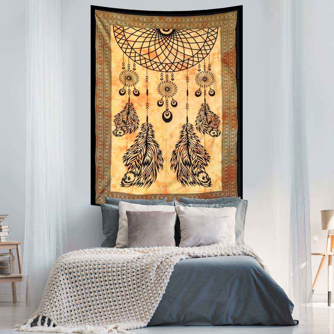 Dream Catcher Yellow Screen Printed Four Feather Queen Twin Tapestry
