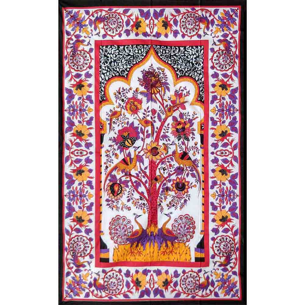 Purple Tree of Life Screen Printed Queen Twin Tapestry