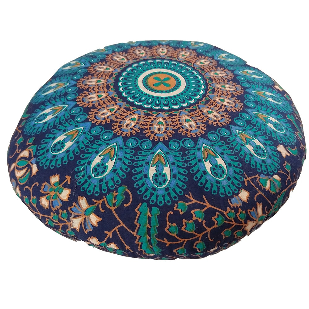 Turquoise Screen Print Cotton Meditation Cushions