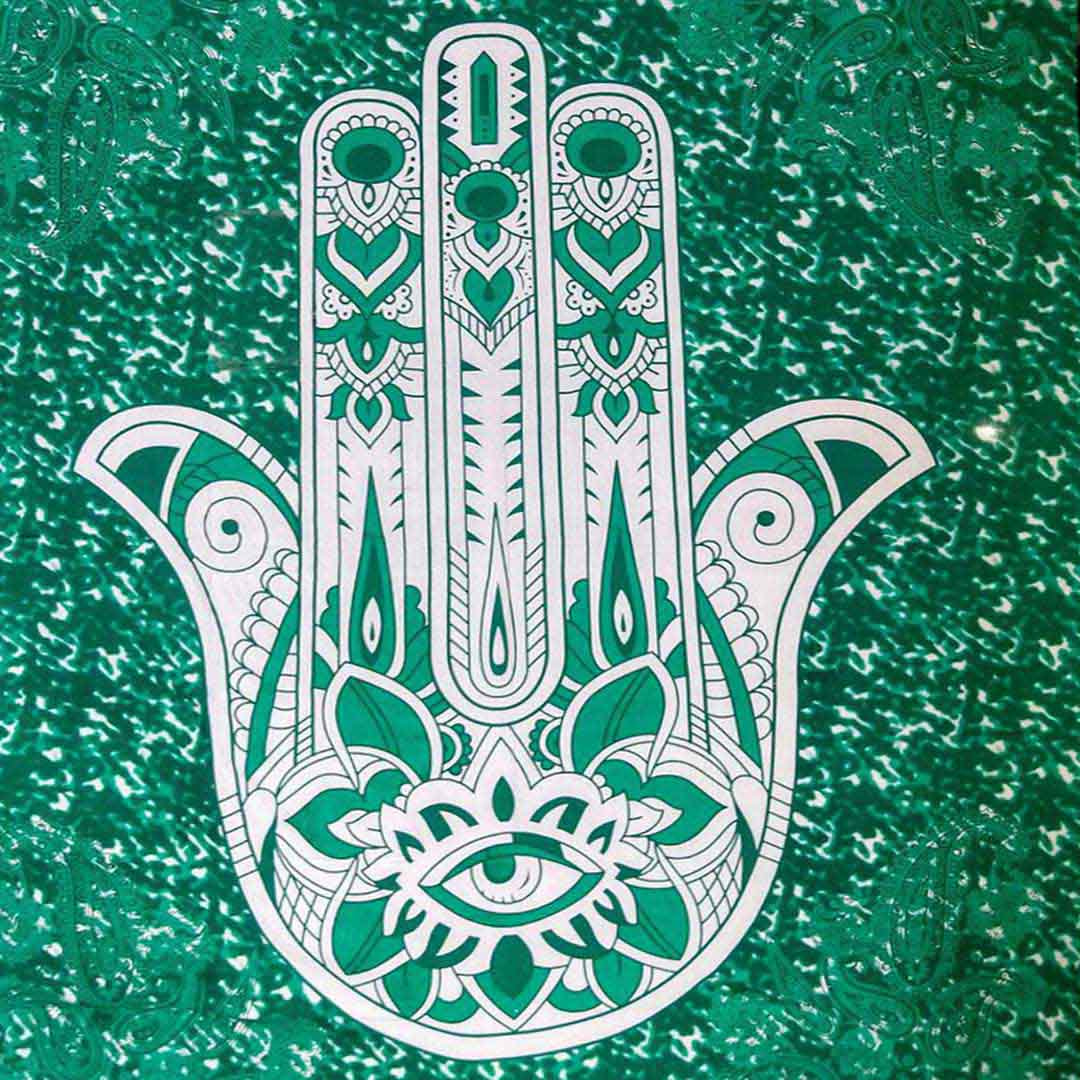 Hamsa Hand Green Screen Printed Queen Twin Tapestry