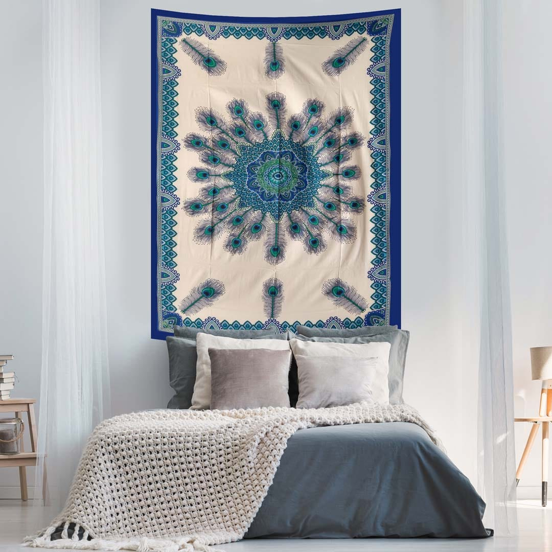 Blue White Peacock Feather Queen Twin Tapestry