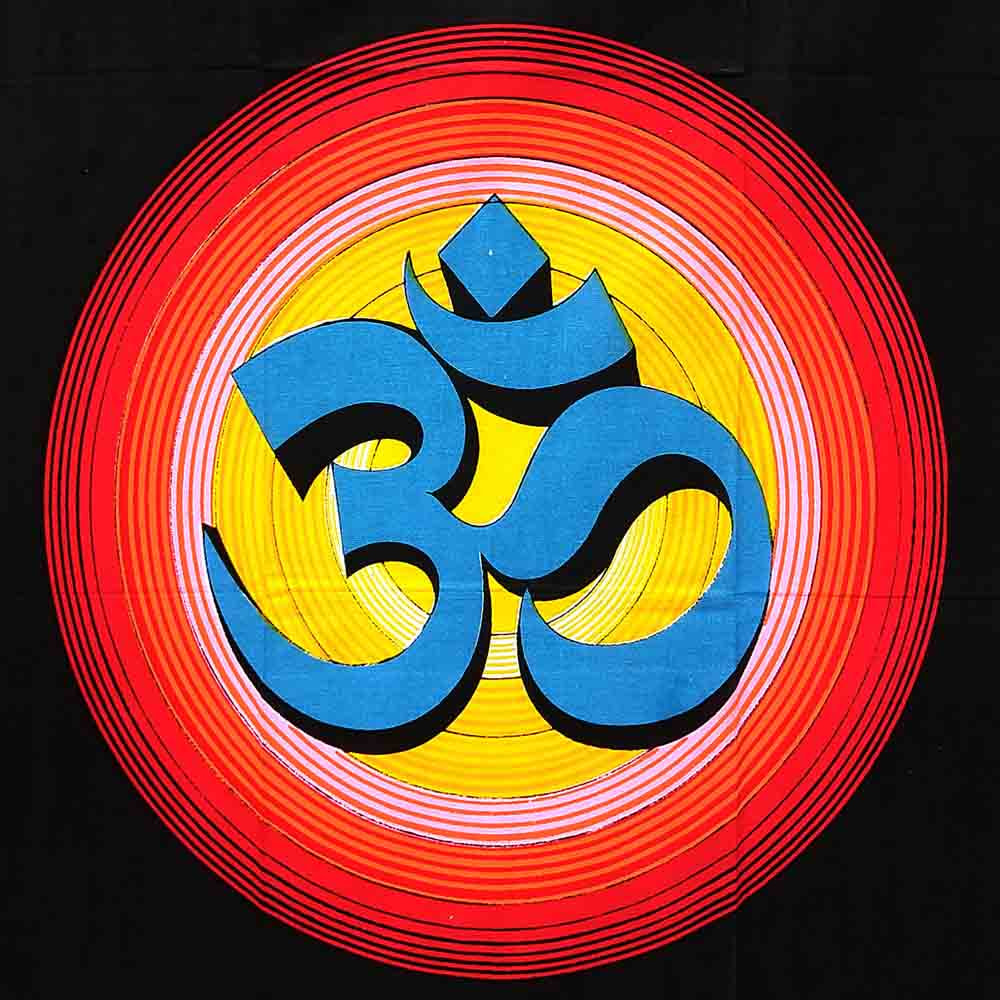 Blue and Red Om Small Cotton Screen Printed Wall Hanging Tapestry