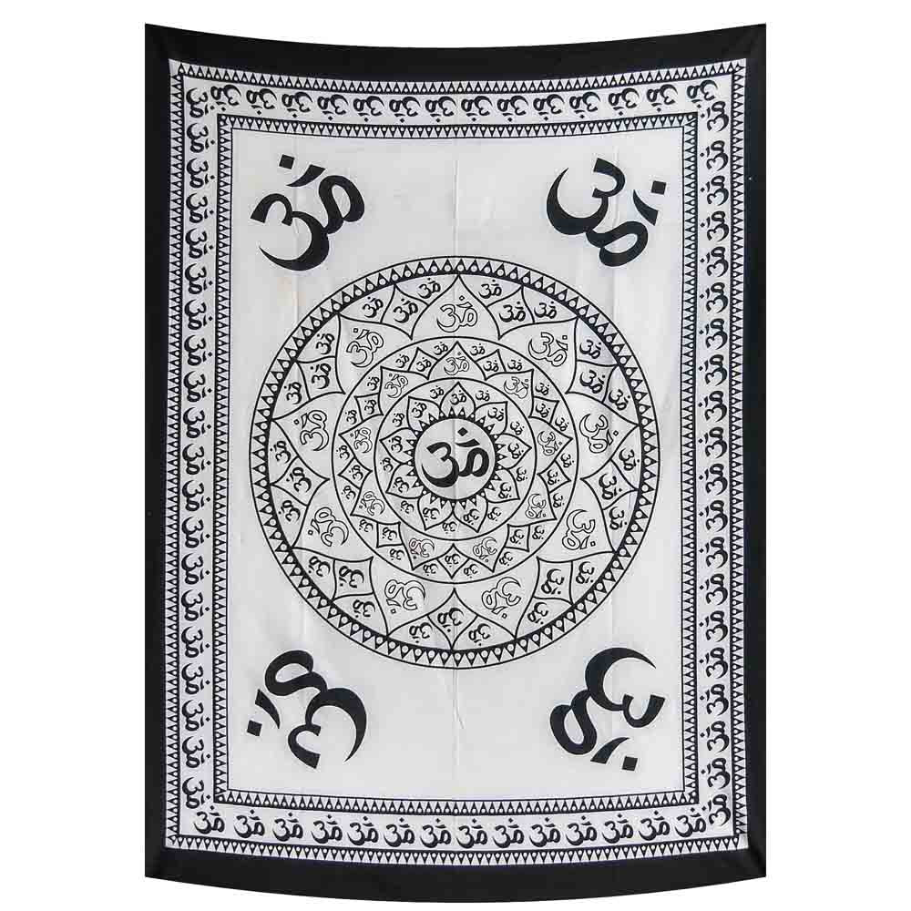 Black and White Om Wheel Small Cotton Screen Printed Wall Hanging Tapestry