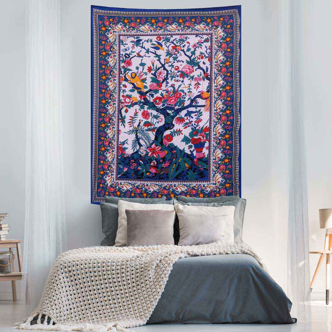 Blue Tree of Life Screen Printed Queen Twin Tapestry