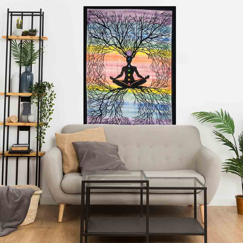 Yoga Roots Hand Brush Chakra Small Cotton Screen Printed Wall Hanging Tapestry