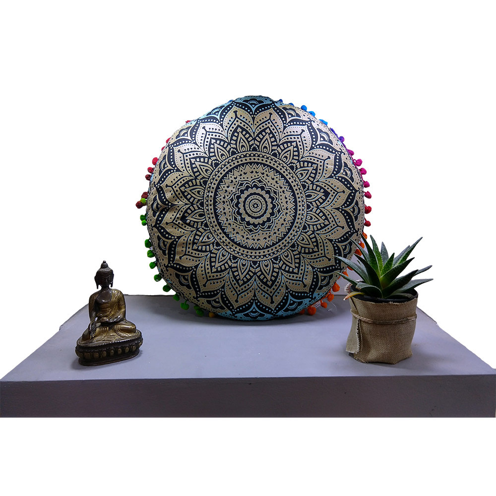 Golden Black Fluorescent Cotton Meditation Cushion