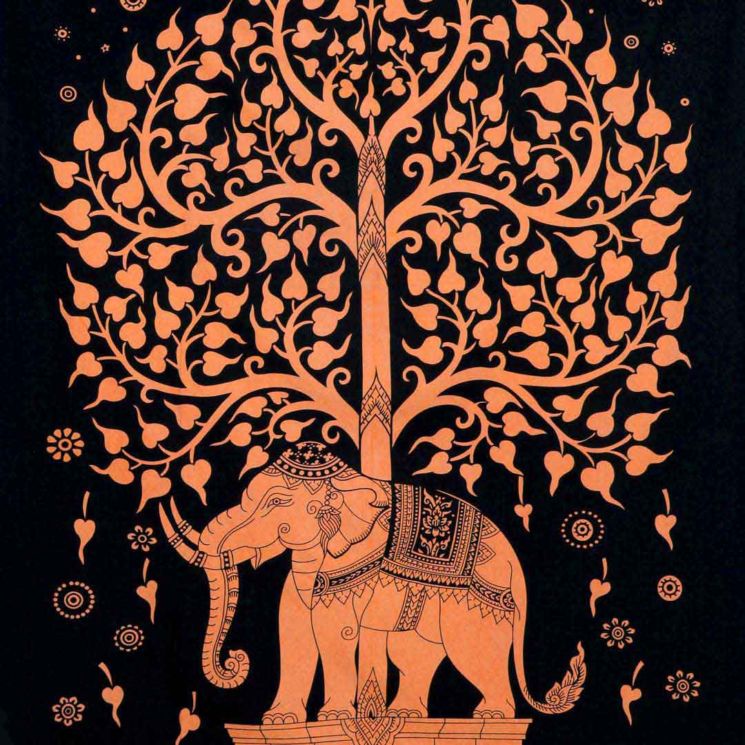 Orange Elephant Tree Screen Printed Queen Twin Tapestry