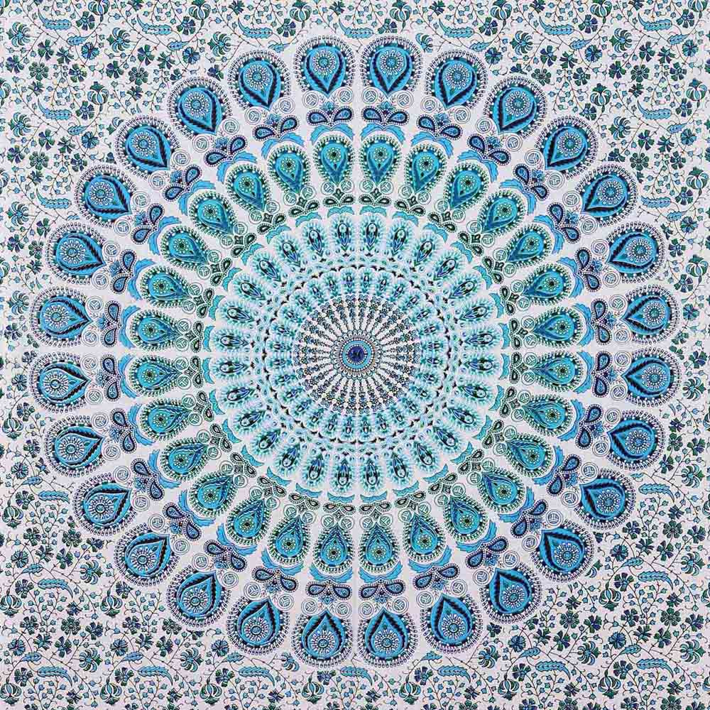 Blue White Peacock Feather Mandala Screen Printed Queen Twin Tapestry