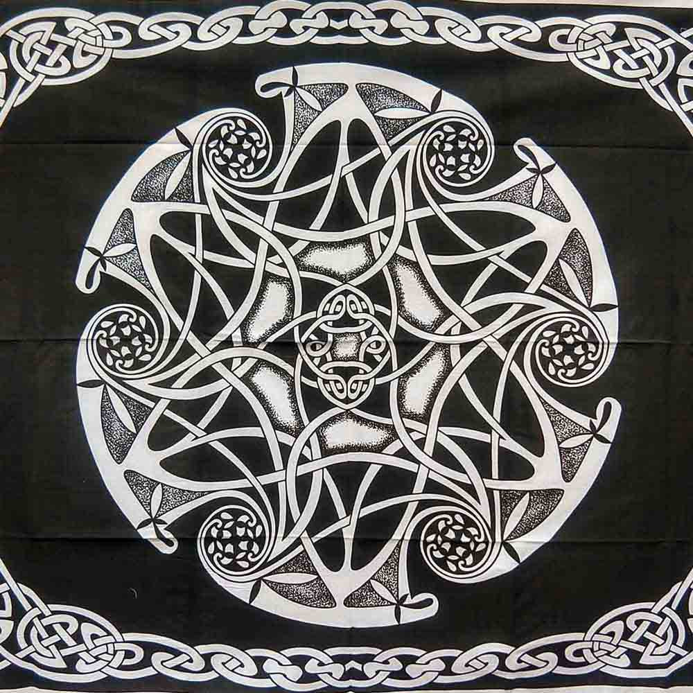 Black and White Celtic Six Star Queen Screen Printed Twin Tapestry