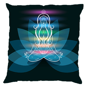 Yoga Girl Multicolour Digital Cotton 16″ × 16″ Pillow